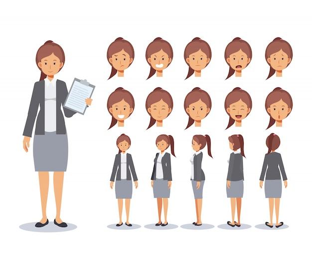 正面、側面、背面のアニメーションキャラクター。ビジネス女性フラット文字作成は、さまざまなビュー、漫画のスタイル、フラットのイラストを使用して設定します。感情。