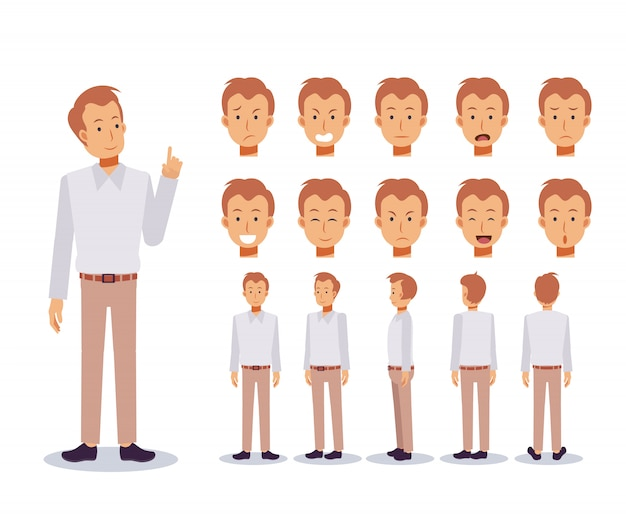 Спереди, сбоку, сзади анимированный персонаж. набор для создания плоских персонажей с различными видами, мультяшном стиле, плоской иллюстрации. эмоции. случайный мужчина