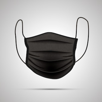 Front side of realistic black medical face mask on gray