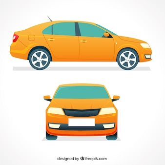 Front and side view of yellow car