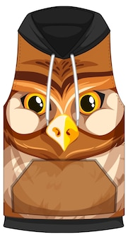 Front of sleeveless hoodie with owl face pattern
