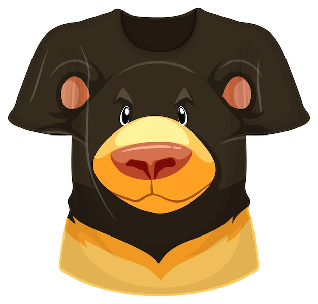 Parte anteriore della t-shirt con motivo orso nero