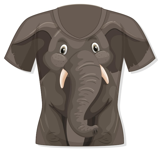 Front of t-shirt with elephant pattern