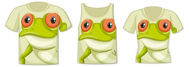 Parte anteriore della t-shirt con modello di faccia di rana