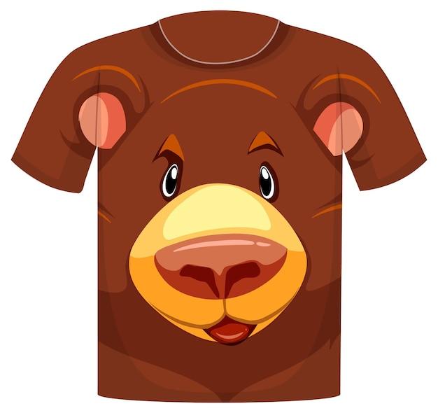 Parte anteriore della t-shirt con motivo orso grizzly