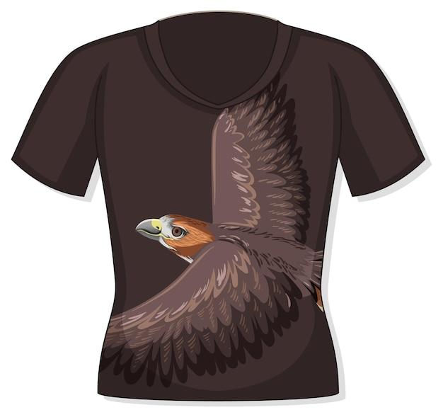 Parte anteriore della t-shirt con motivo falco
