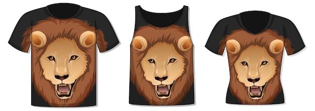 Parte anteriore della t-shirt con modello di faccia di leone