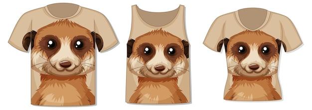 Parte anteriore della t-shirt con modello suricato