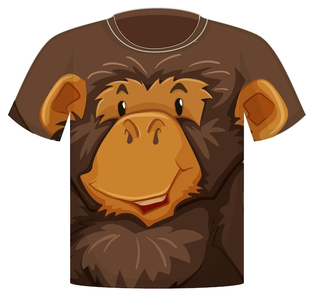 Front of t-shirt with monkey face pattern