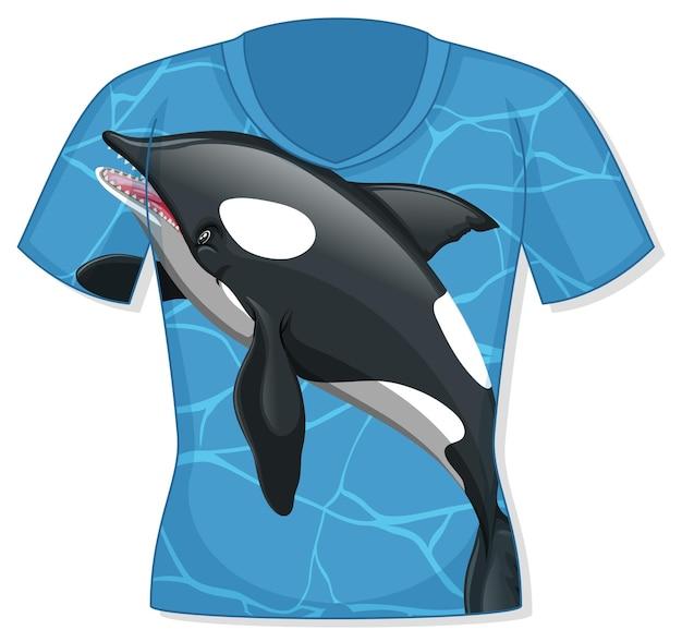 Parte anteriore della t-shirt con motivo orca