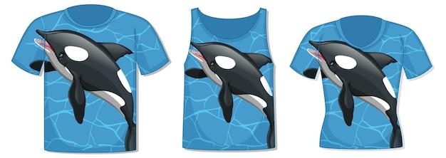 Parte anteriore della t-shirt con modello di balena orca