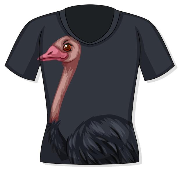 Parte anteriore della t-shirt con motivo struzzo