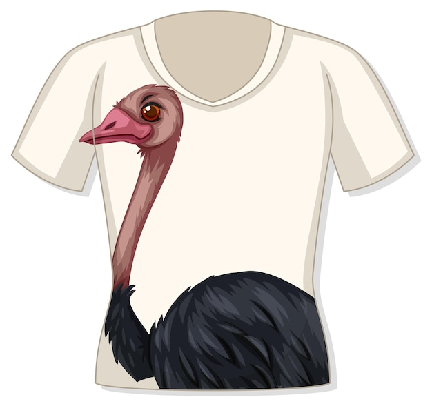 Front of t-shirt with ostrich pattern