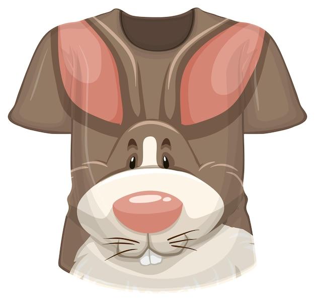 Parte anteriore della t-shirt con motivo coniglio