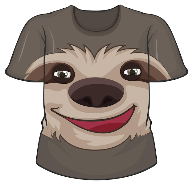 Front of t-shirt with sloth pattern