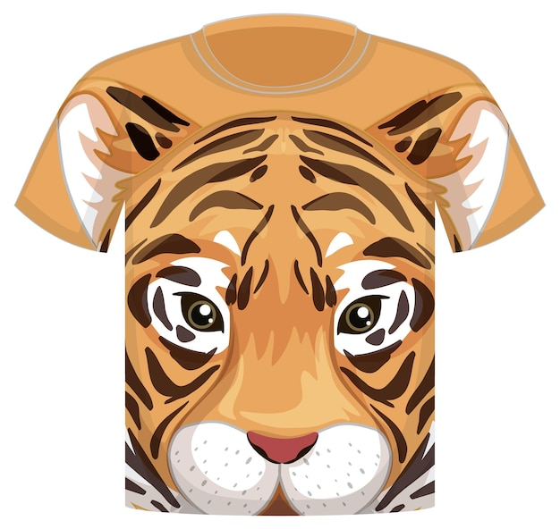 Front of t-shirt with tiger face pattern