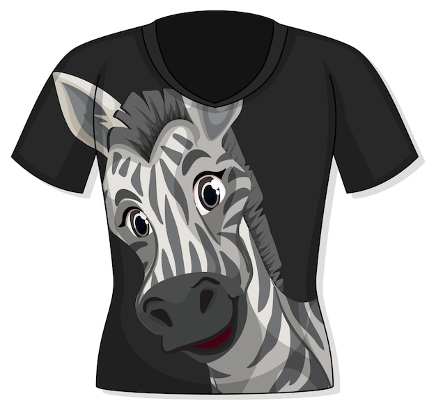 Front of t-shirt with zebra pattern