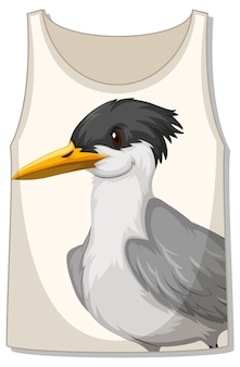 Front of tank top sleeveless with bird pattern