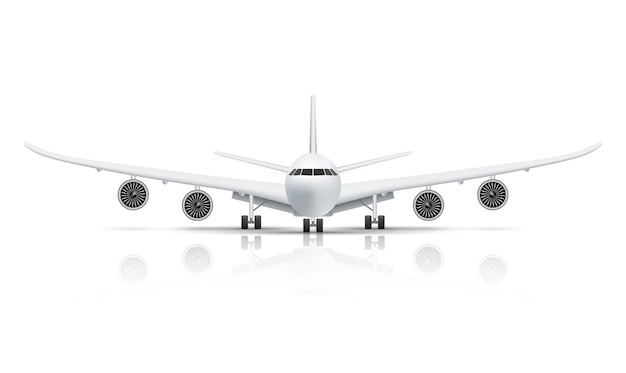 Front view of airplane isolated