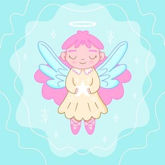 Вид спереди ангела с фиолетовыми крыльями с рождеством