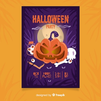 Front view angry pumpkin halloween flyer template