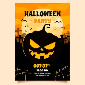Front view angry pumpkin halloween poster template