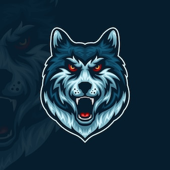 Front view of angry wolf head esport mascot illustration