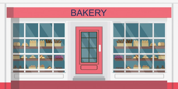 Front view of bakehouse building or bakery shop.
