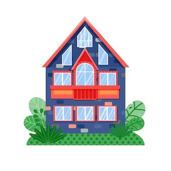 밝은 색상의 창문과 빨간 지붕이 있는 전면 뷰 블루 하우스 창문과 발코니가 있는 집 외관