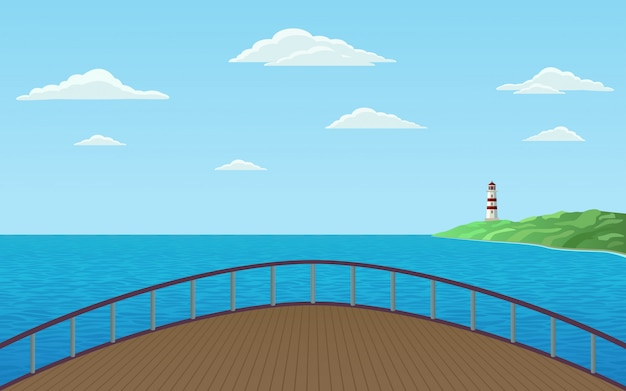 Front view of bow ship sailing in sea with lighthouse on shore and blue sky illustration