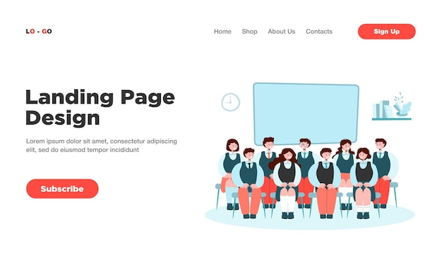 Front view of classmates sitting on chairs for photo isolated landing page