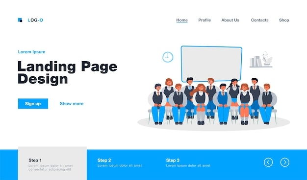 Front view of classmates sitting on chairs for photo landing page in flat style