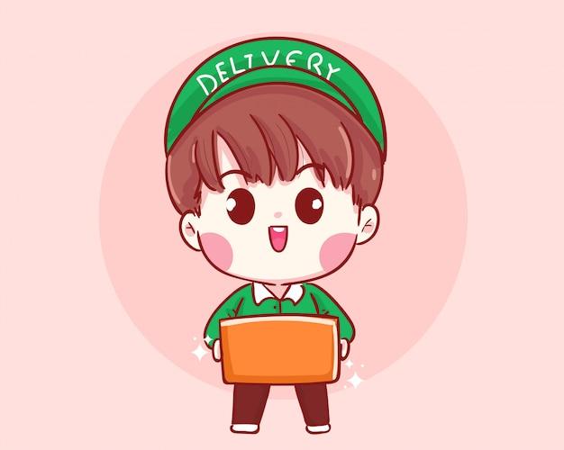 Фронт доставки мальчик держит коробку. концепция доставки мультфильм иллюстрация