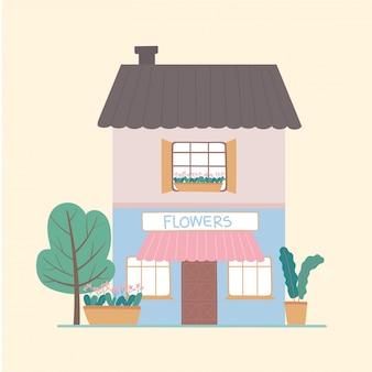 Вид спереди, магазин цветов, строительство коммерческих экстерьеров растений