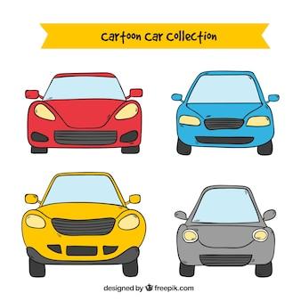 Vista frontale di quattro cartoon auto