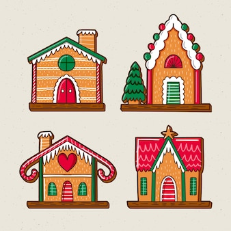 Front view gingerbread houses with cute colours