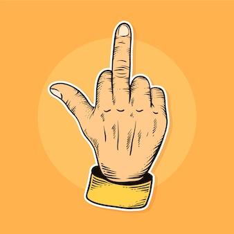 Вид спереди рука с символом нахуй