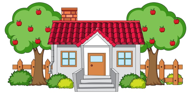 Front view of a house with nature elements on white Free Vector