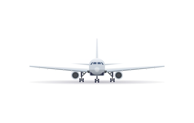 Front view jet airplane isolated icon