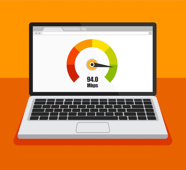Front view of laptop with speed test on a screen. isolated
