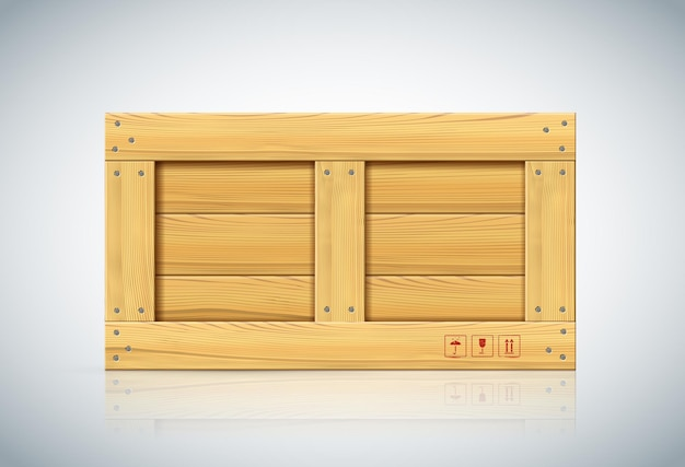 Front view of large wood box on white background