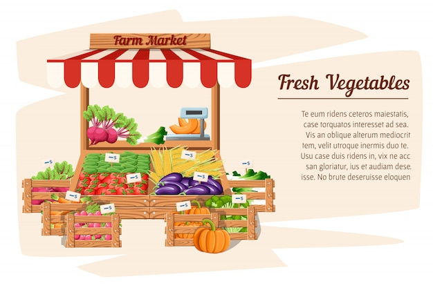 Front view market wood stand with farm food and vegetables in open box  with weights and price tags illustration  on white background place for your text