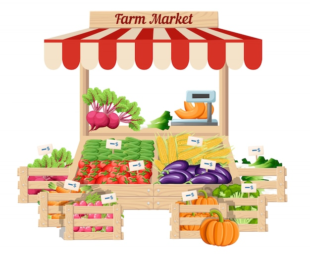 Front view market wood stand with farm food and vegetables in open box  with weights and price tags illustration  on white background