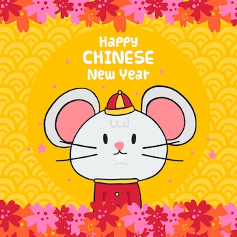 Front view mouse in clothes chinese new year