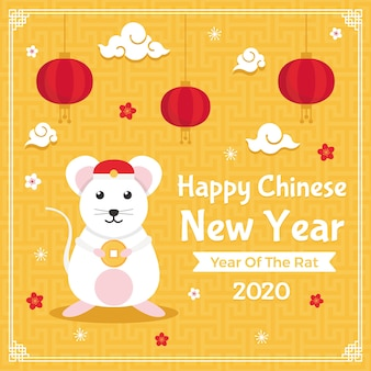 Front view mouse and new year 2020 chinese