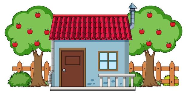 白い背景の上の自然要素を持つ家の正面図
