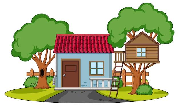 흰색 배경에 자연 요소가 있는 집의 전면 보기