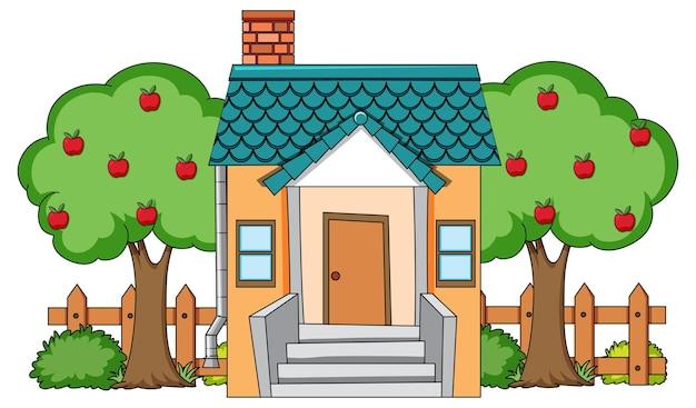 화이트에 자연 요소와 집의 전면보기