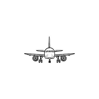 Вид спереди самолета рисованной наброски каракули значок. авиация и туризм, летающие самолеты, концепция авиалайнера