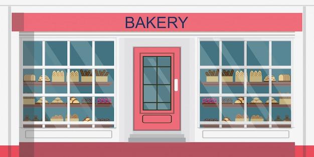 빵집 건물 또는 빵집 상점의 전면 모습.